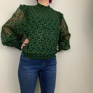 NWT Free People Green Long Sleeve Roma Blouse